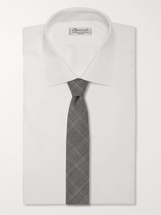 Officine Generale 7.5cm Prince of Wales Checked Wool Tie