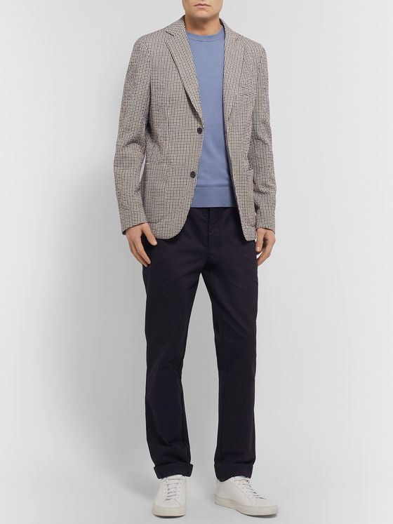Officine Generale Slim-Fit Unstructured Gingham Cotton-Blend Seersucker Blazer