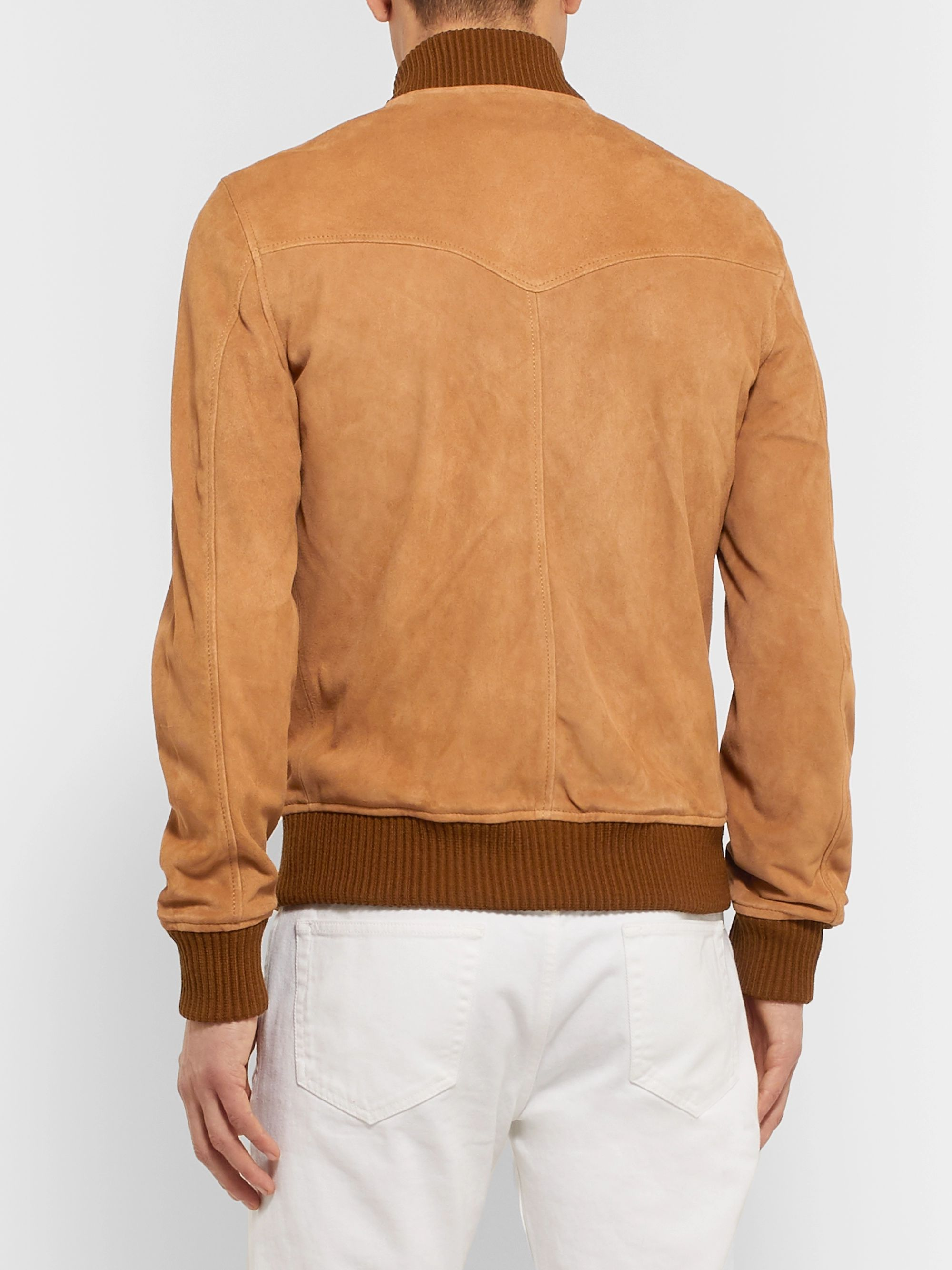 Officine Generale Todd Slim-Fit Suede Bomber Jacket