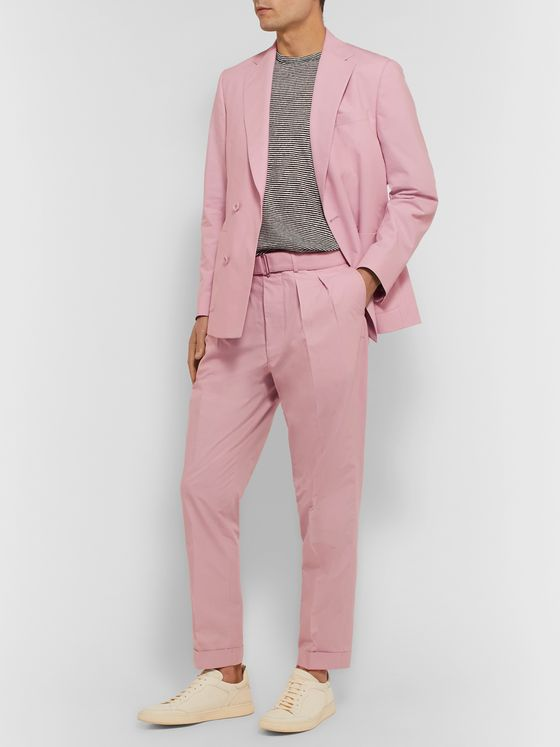 Officine Generale Pierre Slim-Fit Belted Pleated Cotton-Poplin Suit Trousers