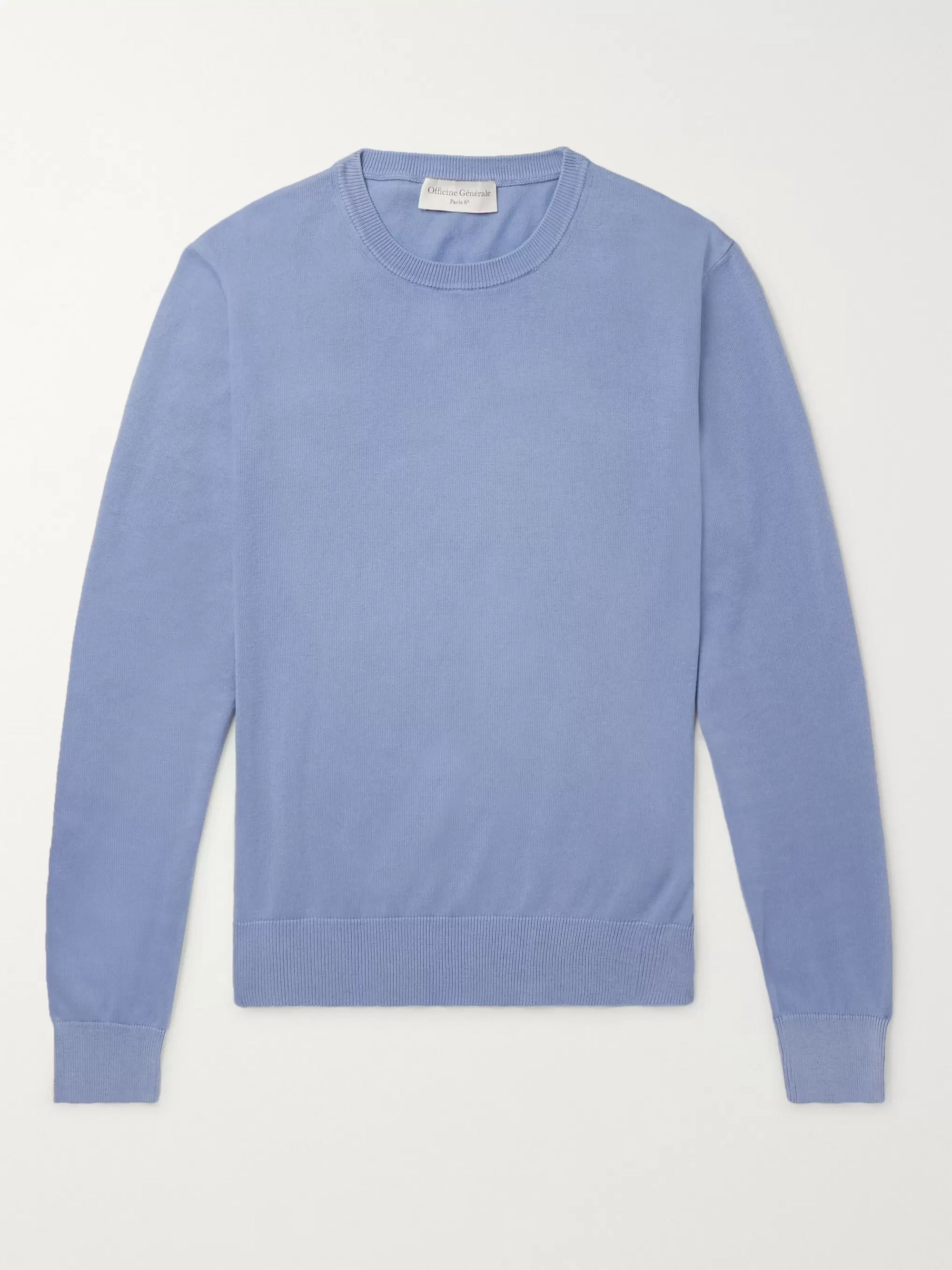 Officine Generale Neils Garment-Dyed Cotton Sweater