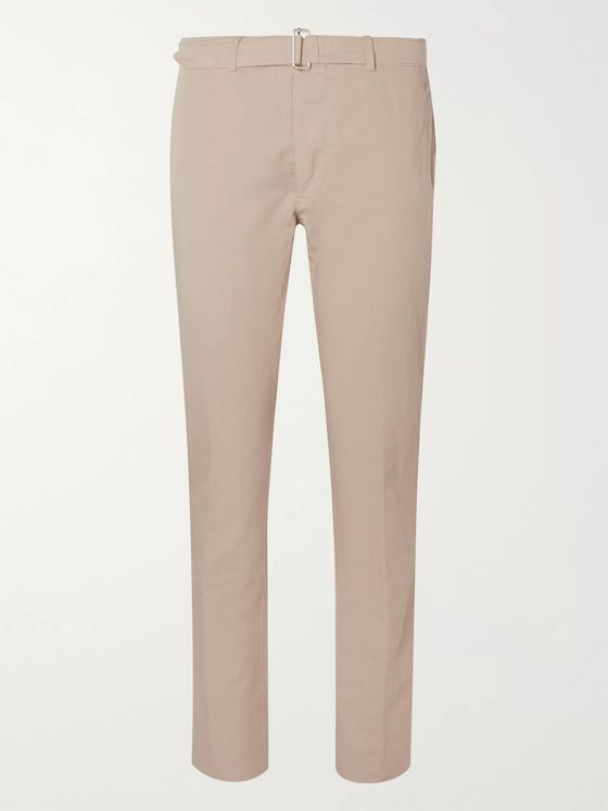 Officine Generale Paul Slim-Fit Belted Garment-Dyed Cotton and Linen-Blend Suit Trousers