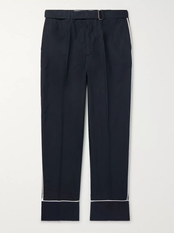 Officine Generale Lucio Wide-Leg Belted Cotton Trousers
