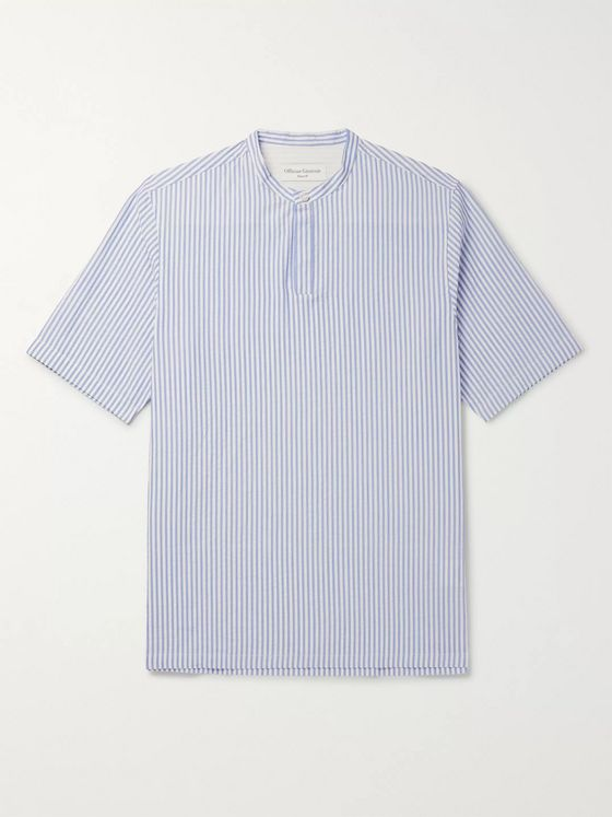 Officine Generale Tomi Grandad-Collar Striped Cotton-Seersucker Shirt