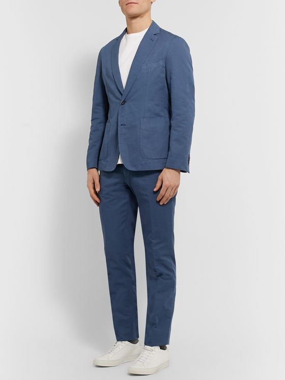 Officine Generale Slim-Fit Garment-Dyed Cotton and Linen-Blend Suit Jacket