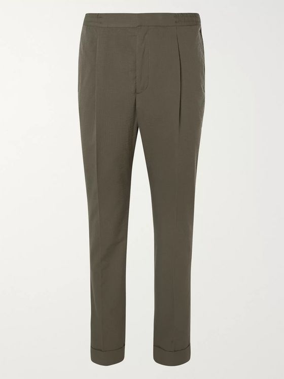 Officine Generale Drew Tapered Pleated Cotton-Seersucker Suit Trousers