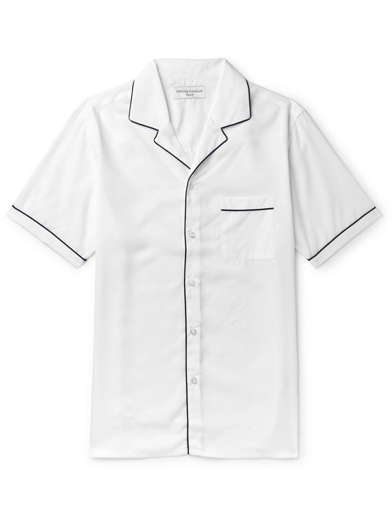 Officine Generale Jeffrey Camp-Collar Piped Lyocell Shirt