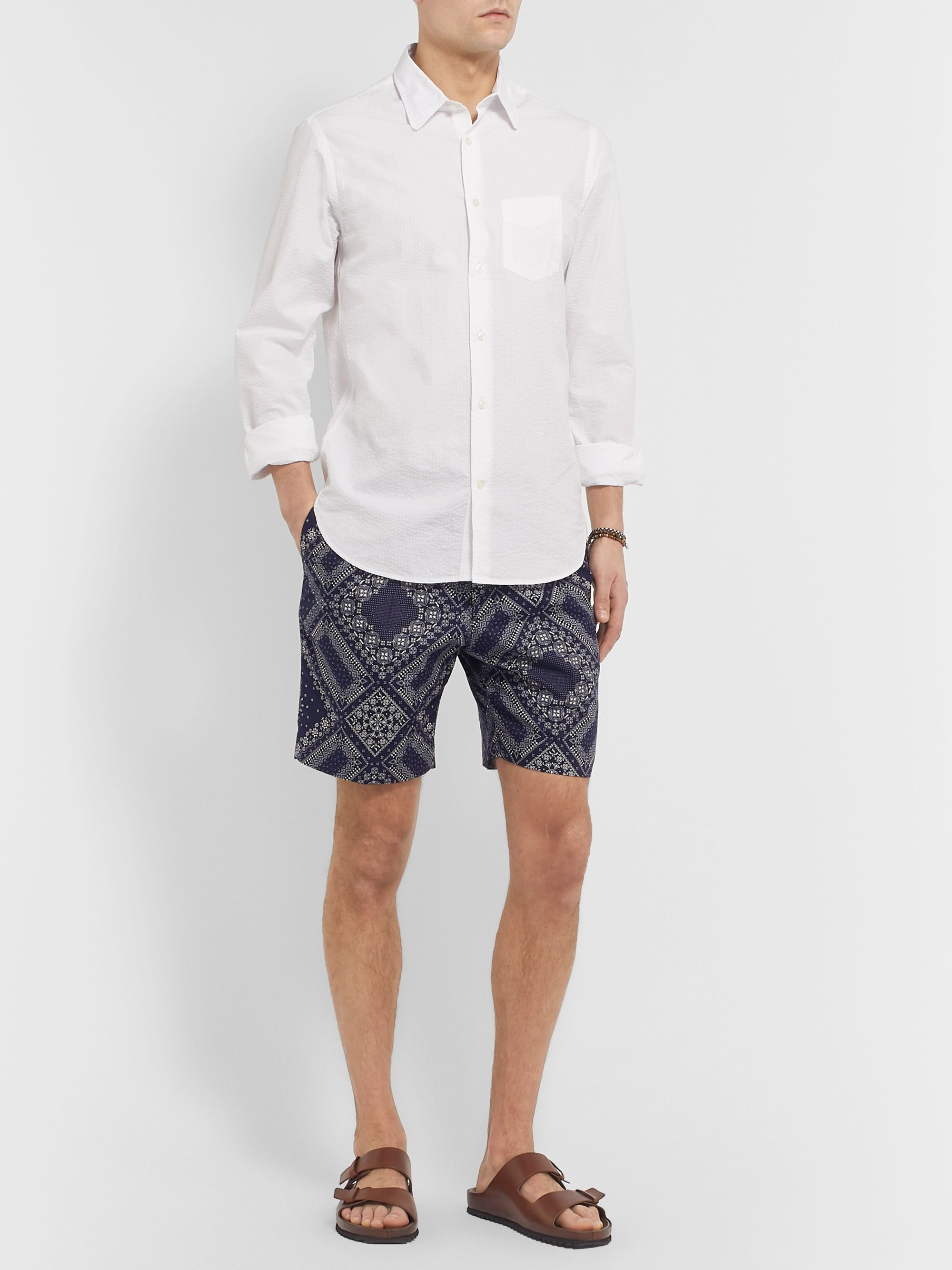 Officine Generale Phil Slim-Fit Bandana-Print Cotton Drawstring Shorts