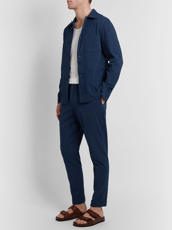 Officine Generale Phil Checked Cotton-Blend Seersucker Drawstring Trousers