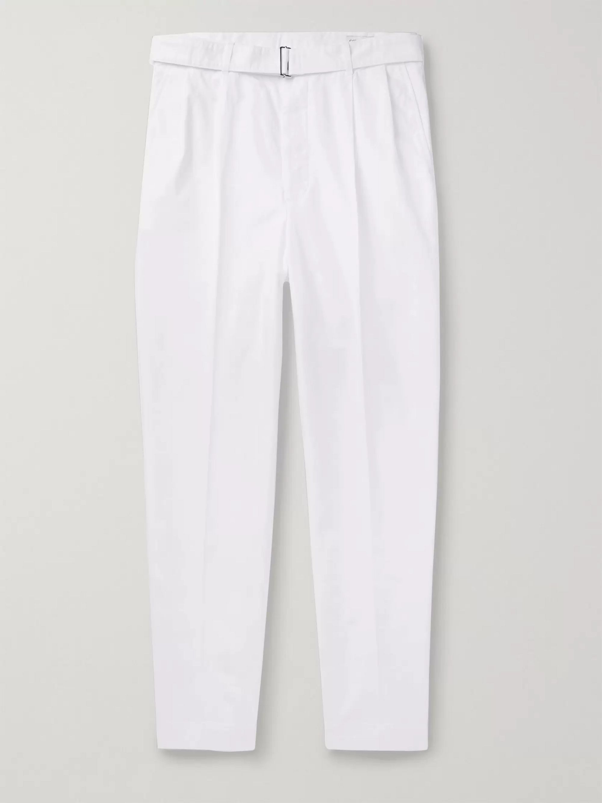 Officine Generale Luigi Tapered Pleated Cotton Chinos