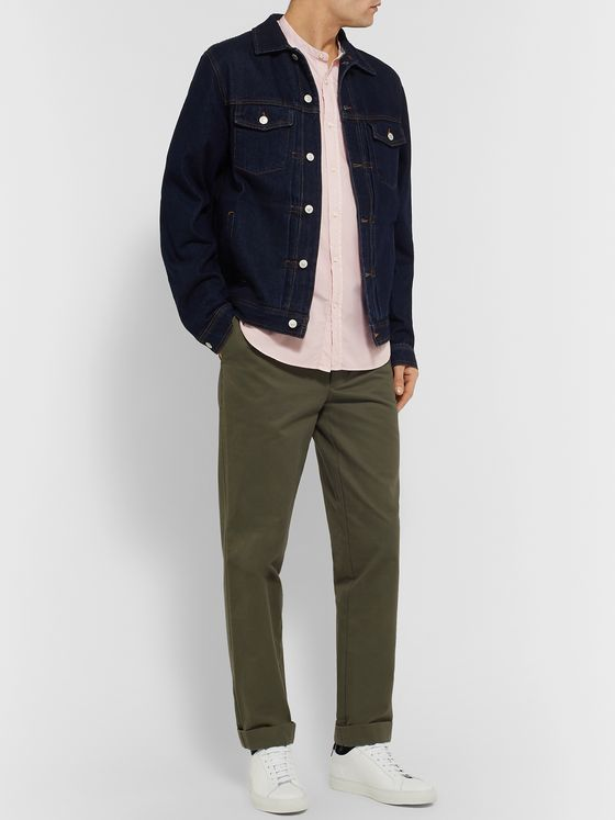 Officine Generale Gaspard Slim-Fit Grandad-Collar Pigment-Dyed Cotton-Blend Seersucker Shirt