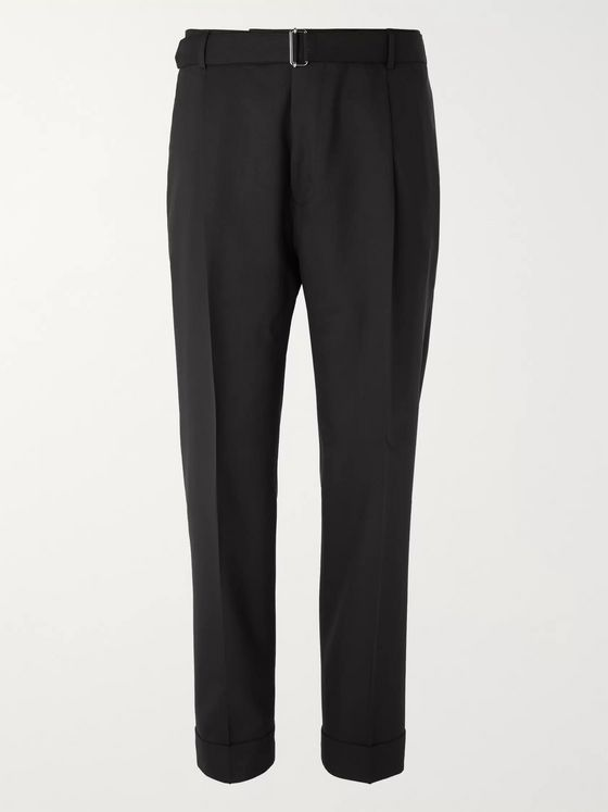 Officine Generale Black Hugo Tapered Belted Wool Suit Trousers