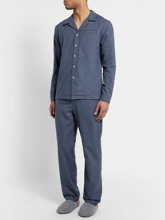 Hamilton and Hare Camp-Collar Brushed Cotton-Flannel Pyjama Shirt