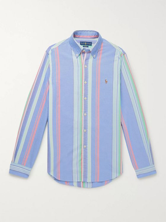 Polo Ralph Lauren Slim-Fit Button-Down Collar Striped Cotton Shirt