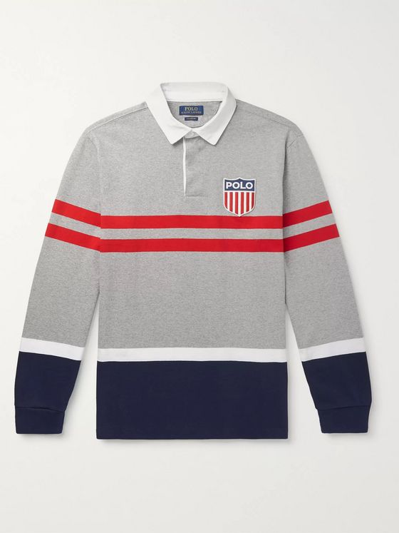 Polo Ralph Lauren Logo-Appliquéd Striped Mélange Cotton-Jersey Rugby Shirt