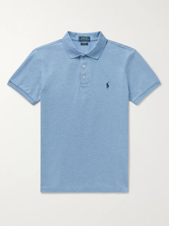 Polo Ralph Lauren Slim-Fit Mélange Stretch-Cotton Piqué Polo Shirt