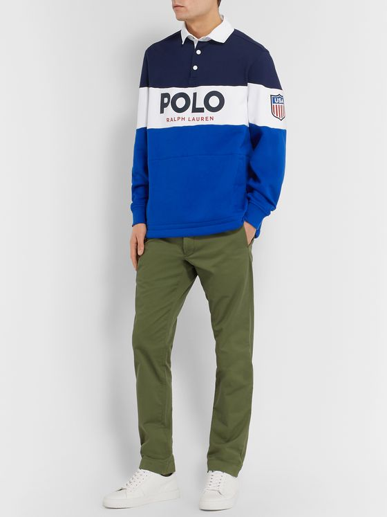 Polo Ralph Lauren Logo-Print Colour-Block Fleece-Back Cotton-Blend Jersey Rugby Shirt