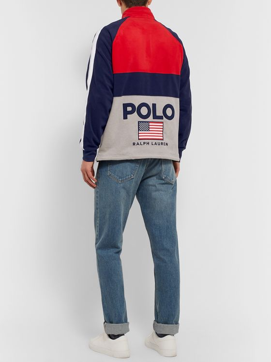Polo Ralph Lauren Logo-Appliquéd Colour-Block Fleece Half-Zip Sweatshirt