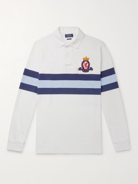 Polo Ralph Lauren Logo-Embroidered Striped Cotton-Jersey Rugby Shirt