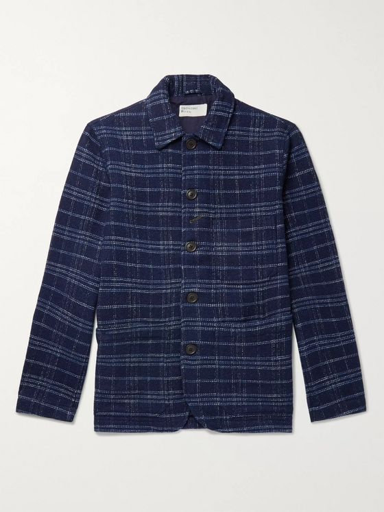 Universal Works Bakers Indigo-Dyed Checked Cotton and Wool-Blend Chore Jacket