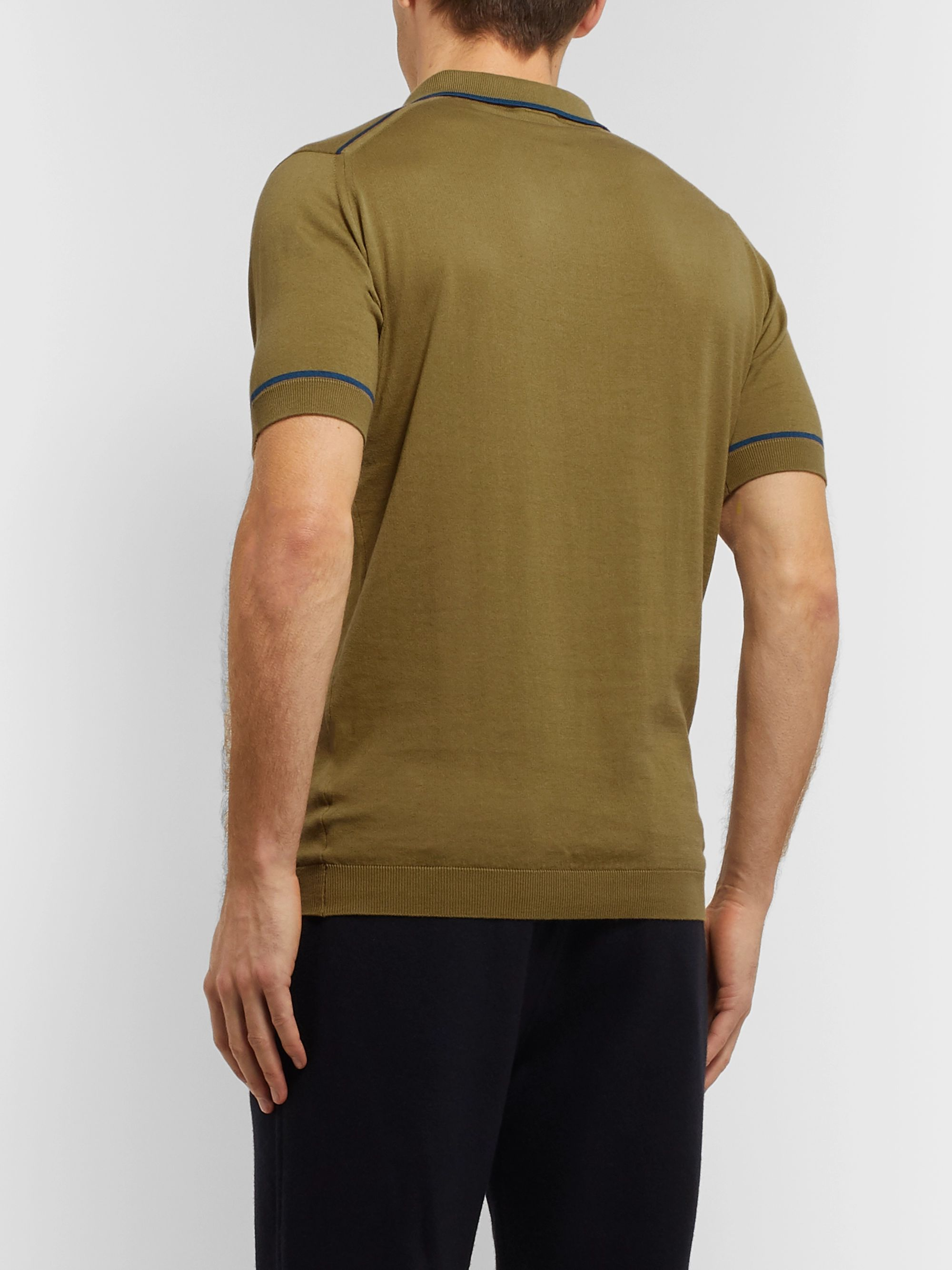 John Smedley Slim-Fit Contrast-Tipped Sea Island Cotton Polo Shirt