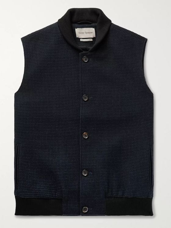 Oliver Spencer Moorland Waffle-Knit Wool and Cotton-Blend Gilet