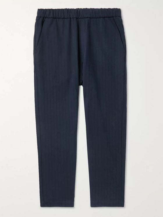 Barena Navy Arenga Tapered Striped Cotton-Blend Drawstring Trousers