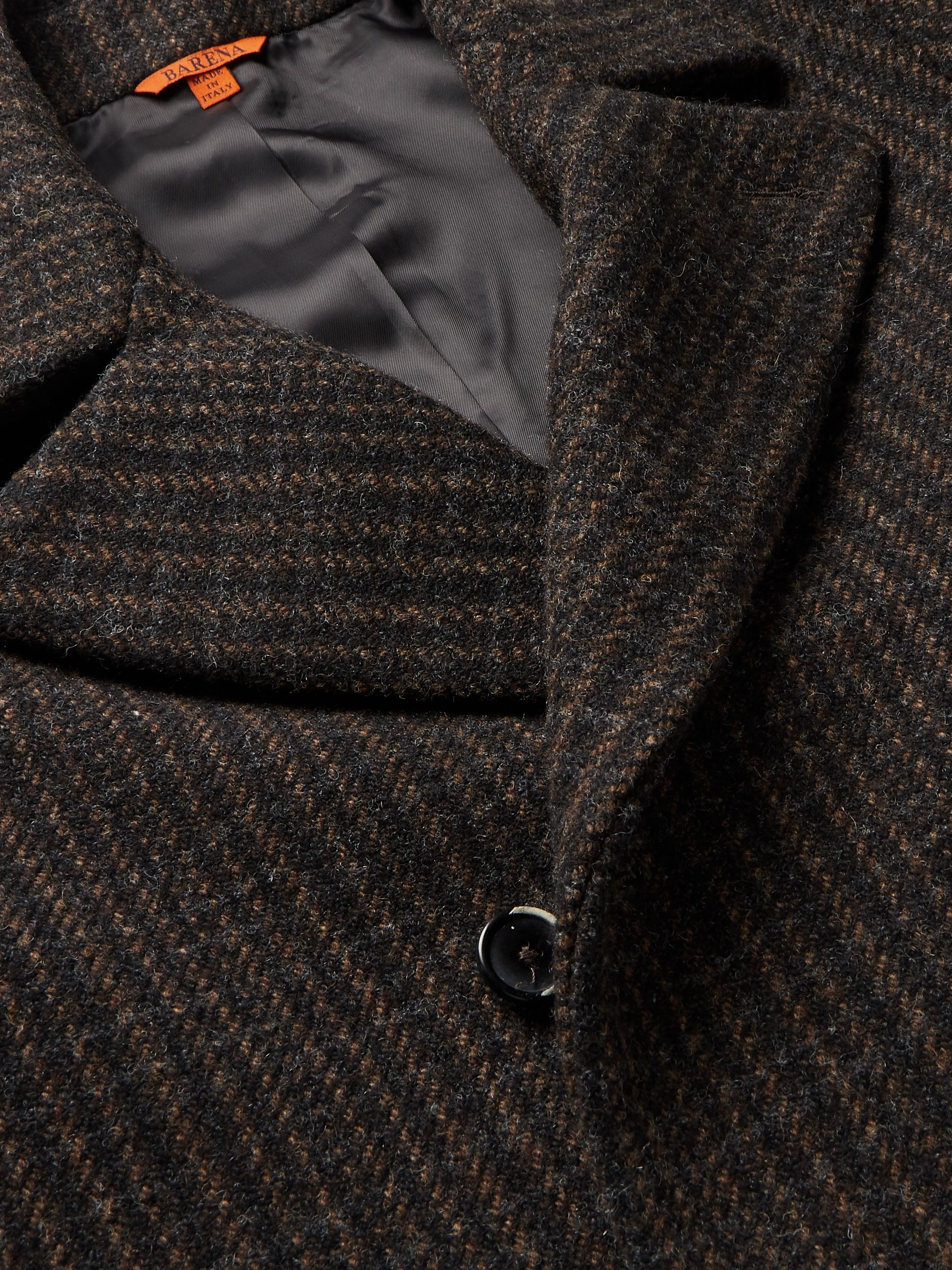 Barena Double-Breasted Checked Wool-Blend Peacoat