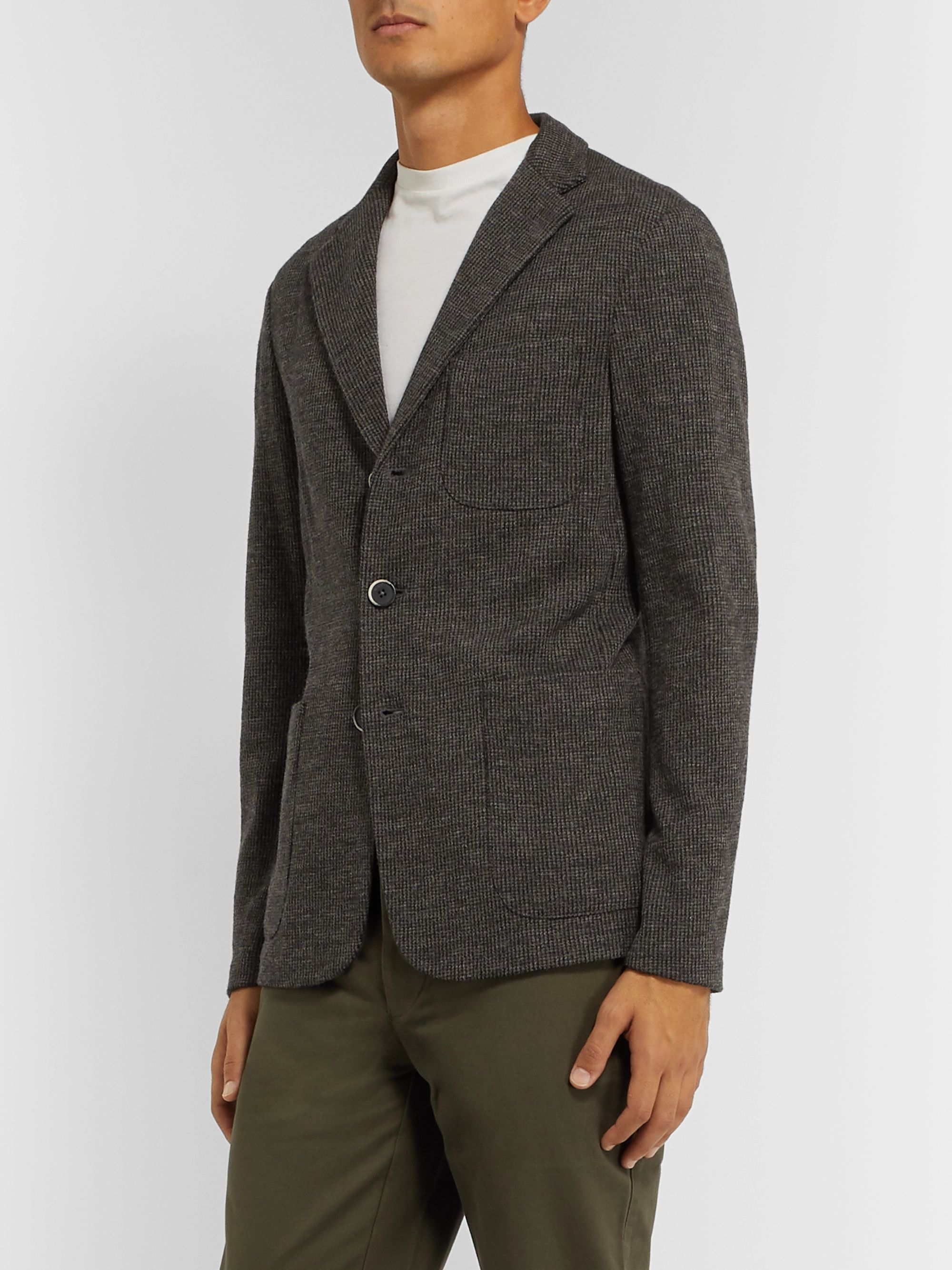 Barena Dark-Grey Slim-Fit Unstructured Puppytooth Virgin Wool Blazer
