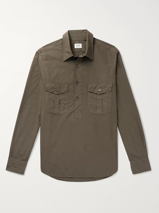 Aspesi Garment-Dyed Cotton-Poplin Half-Placket Shirt