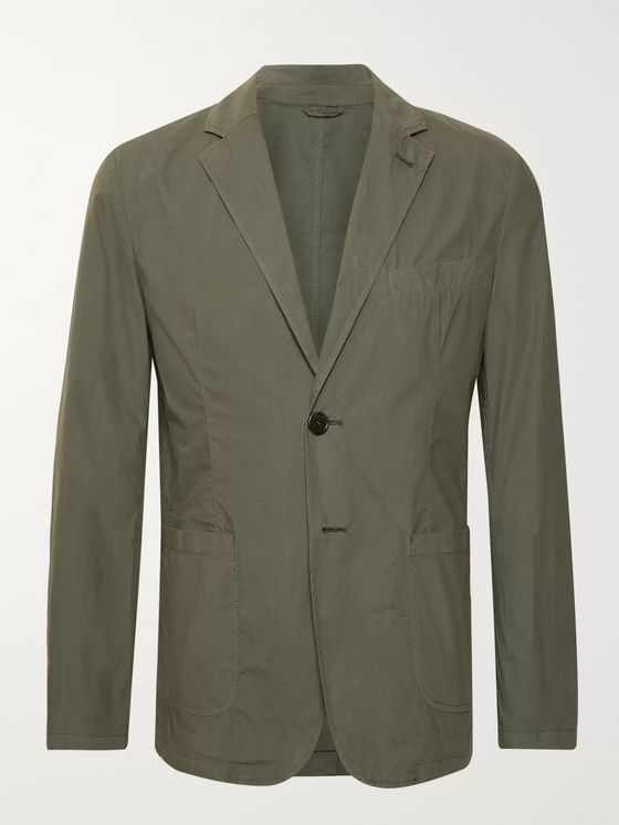 Aspesi Army-Green Unstructured Cotton-Poplin Blazer