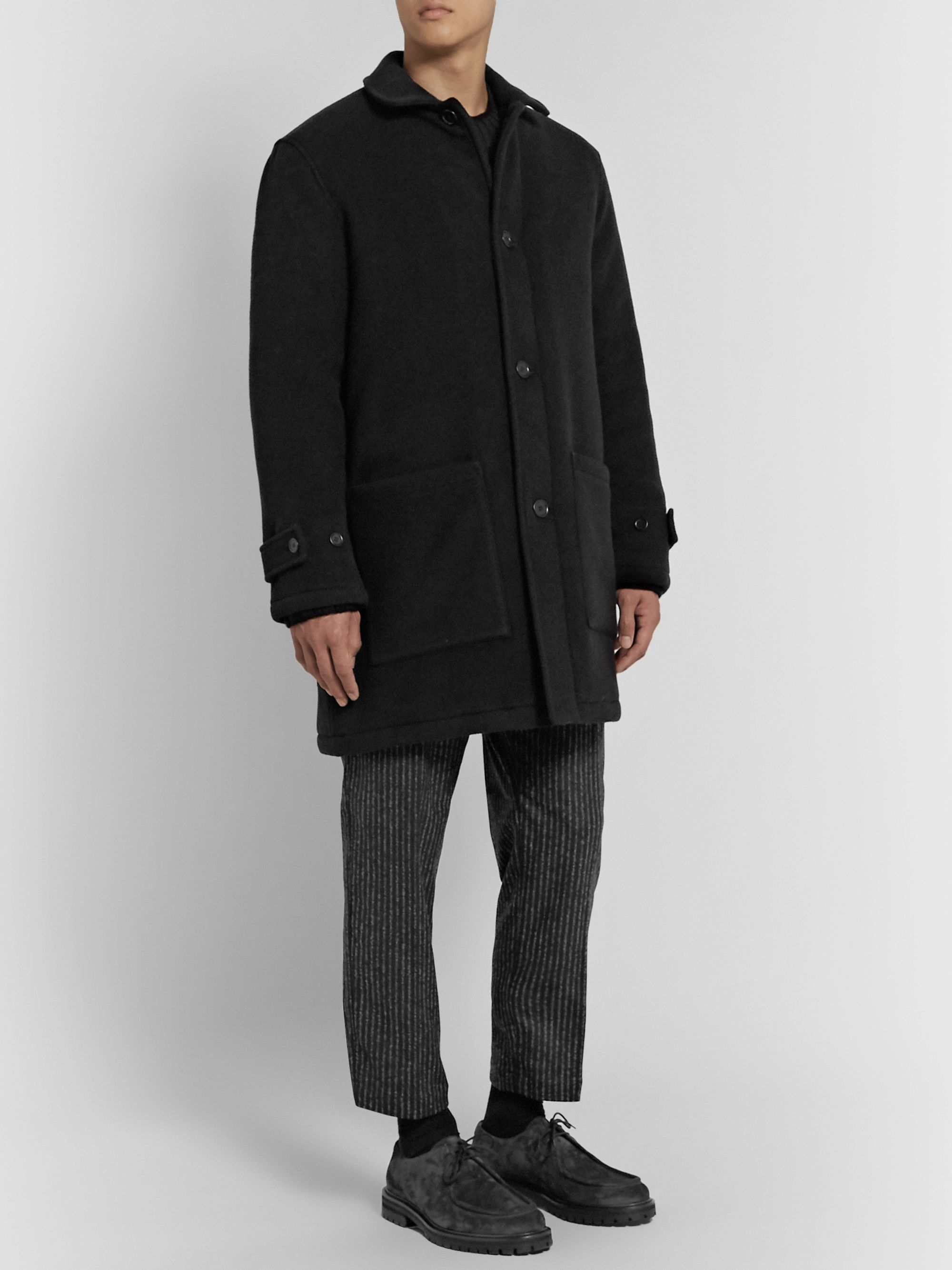 YMC Factory Padded Garment-Dyed Wool-Blend Coat