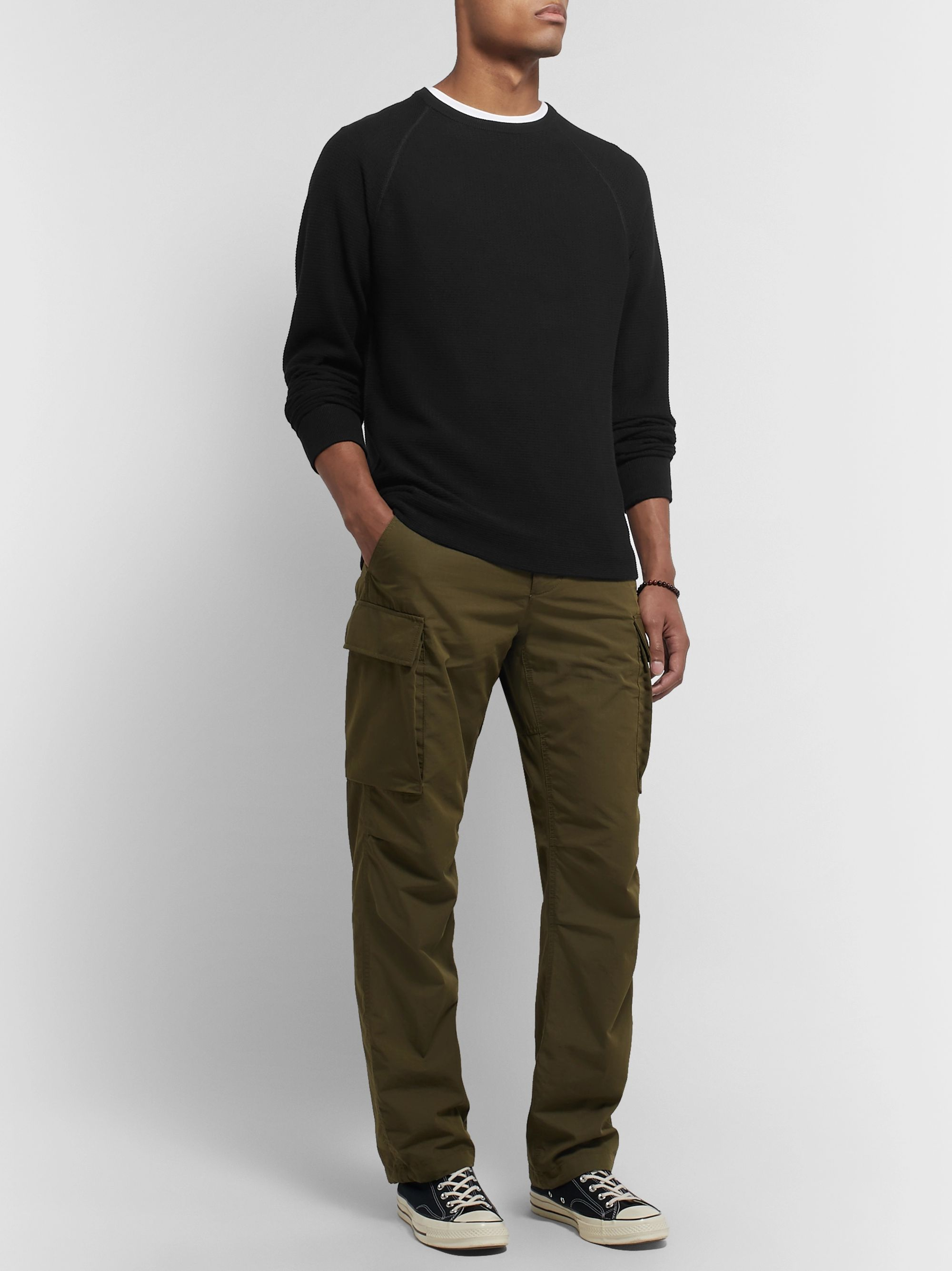 James Perse Waffle-Knit Cotton Sweatshirt