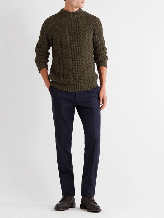 KINGSMAN Cable-Knit Wool and Cashmere-Blend Sweater