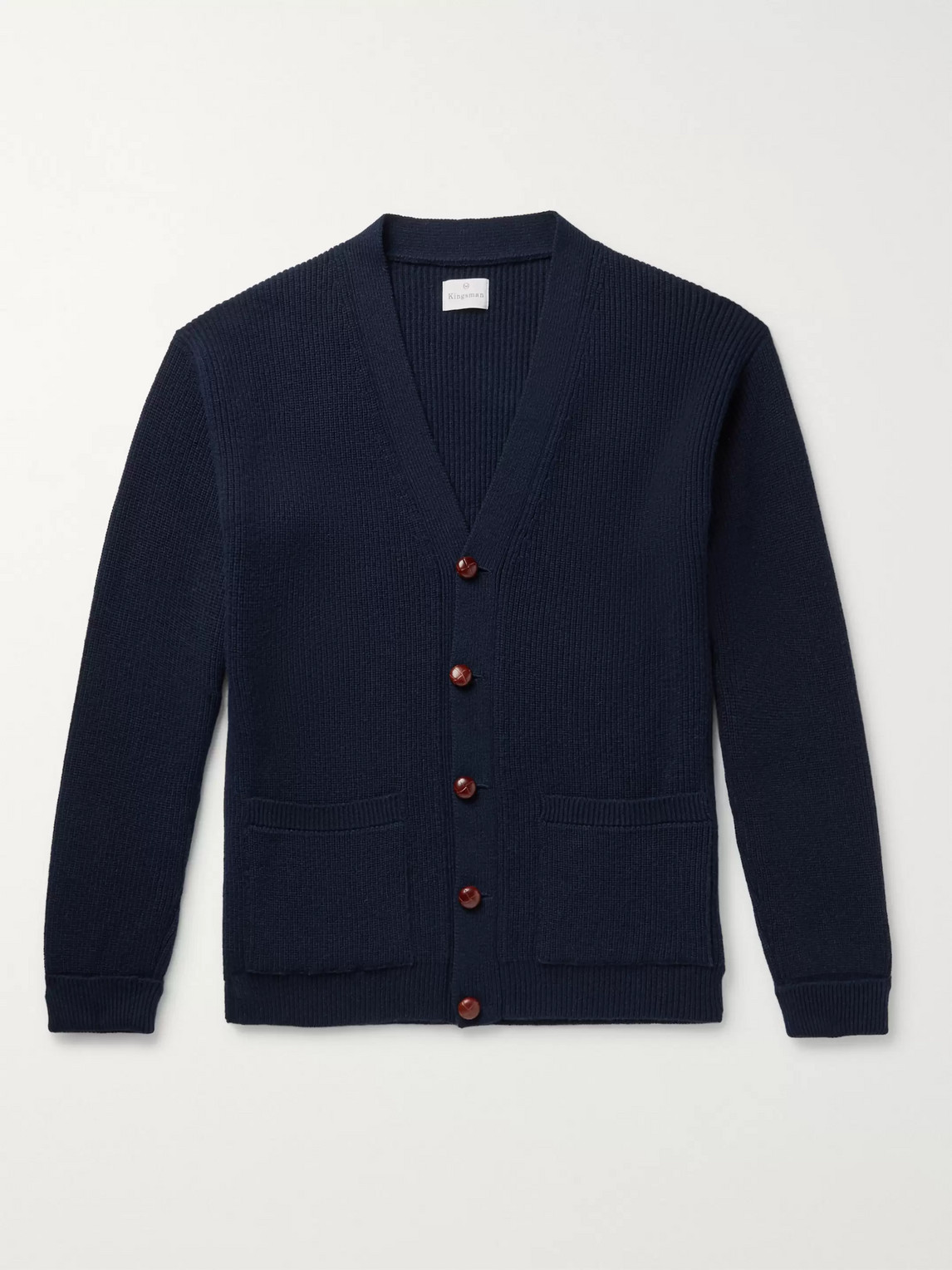 Kingsman Harry Ribbed Cashmere Cardigan In Blue
