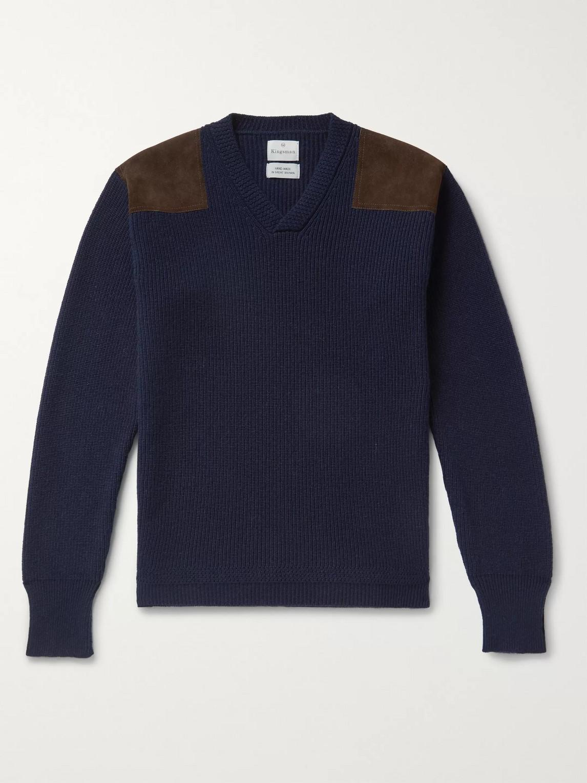Kingsman Merlin Slim-fit Suede-trimmed Cashmere Sweater In Blue
