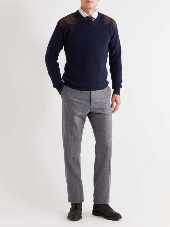 Kingsman Merlin Slim-Fit Suede-Trimmed Cashmere Sweater