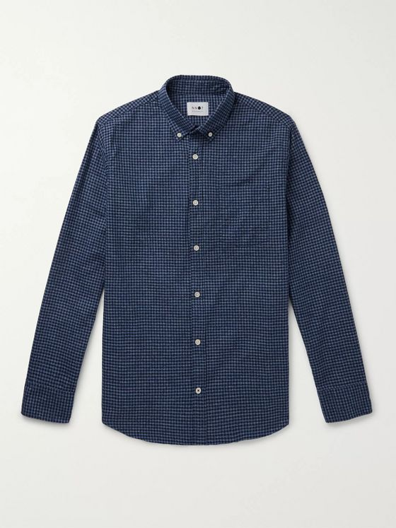 NN07 Levon 5190 Slim-Fit Button-Down Collar Checked Cotton-Flannel Shirt