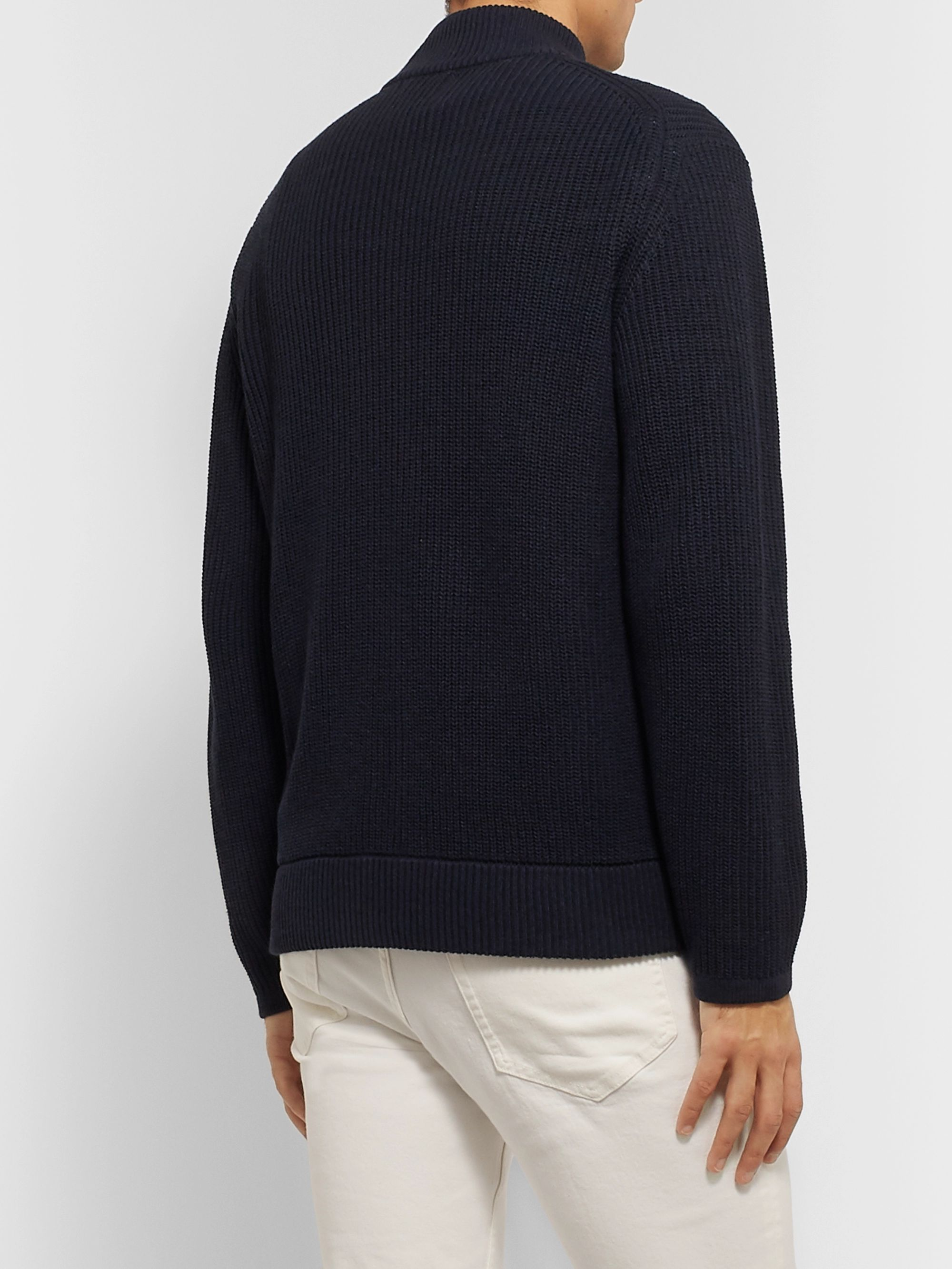 NN07 Piet Slim-Fit Ribbed Cotton-Blend Zip-Up Sweater