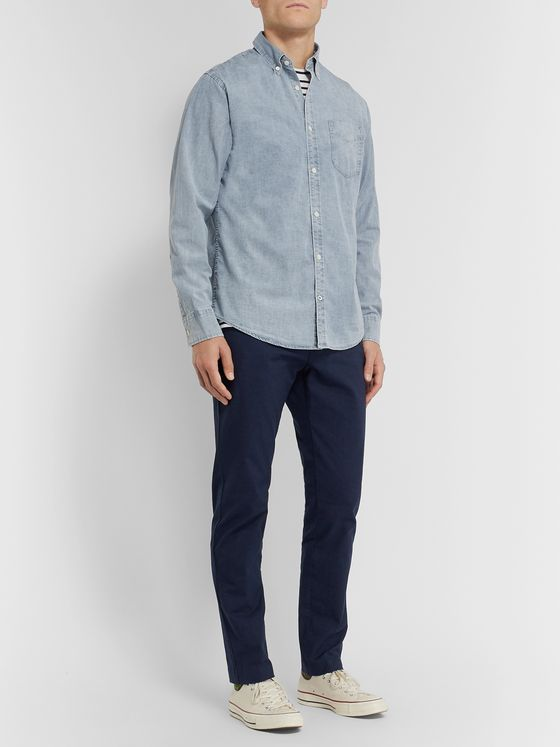 NN07 Levon Button-Down Collar Cotton-Chambray Shirt