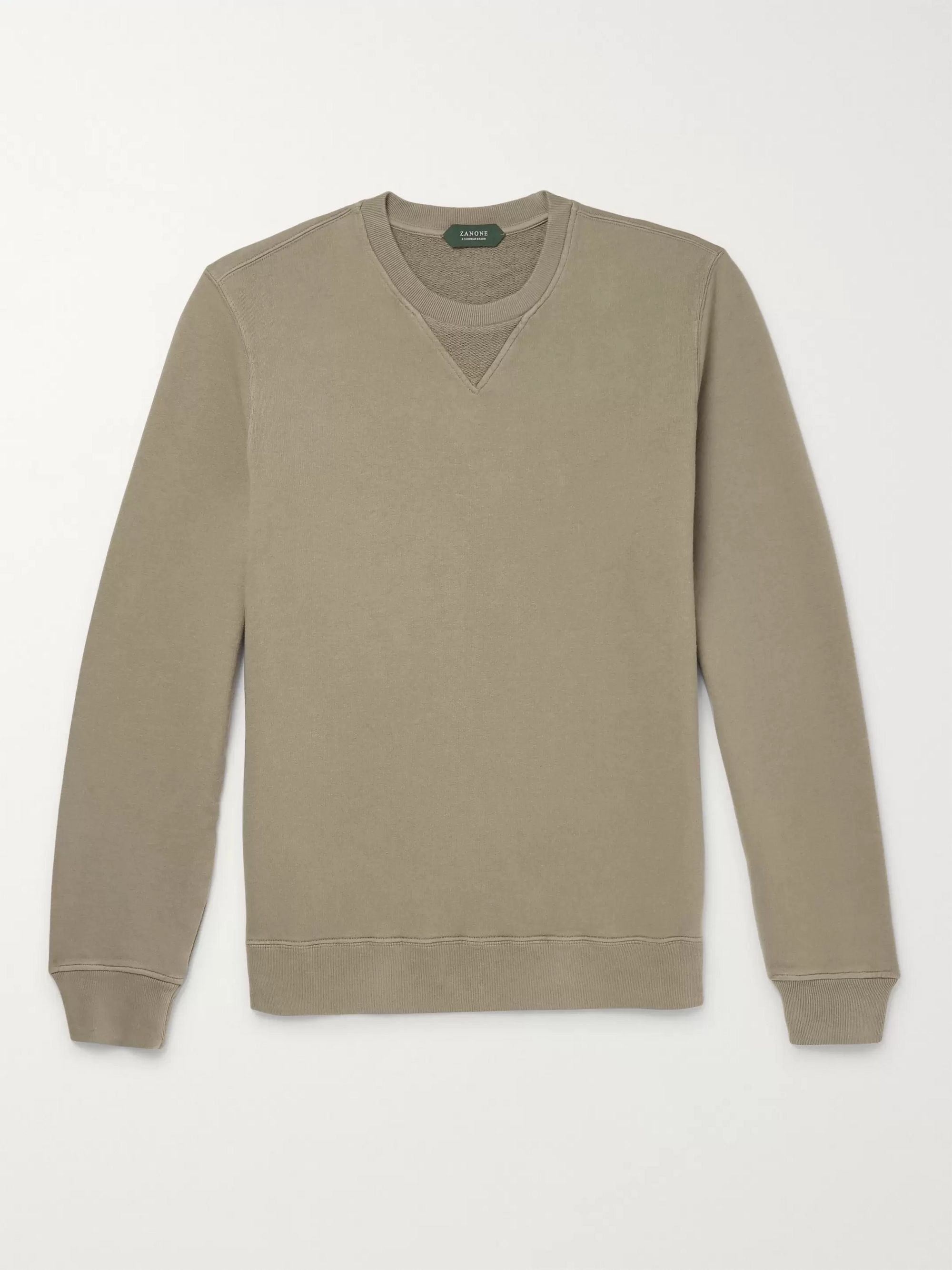 Incotex Garment-Dyed Loopback Cotton-Jersey Sweatshirt