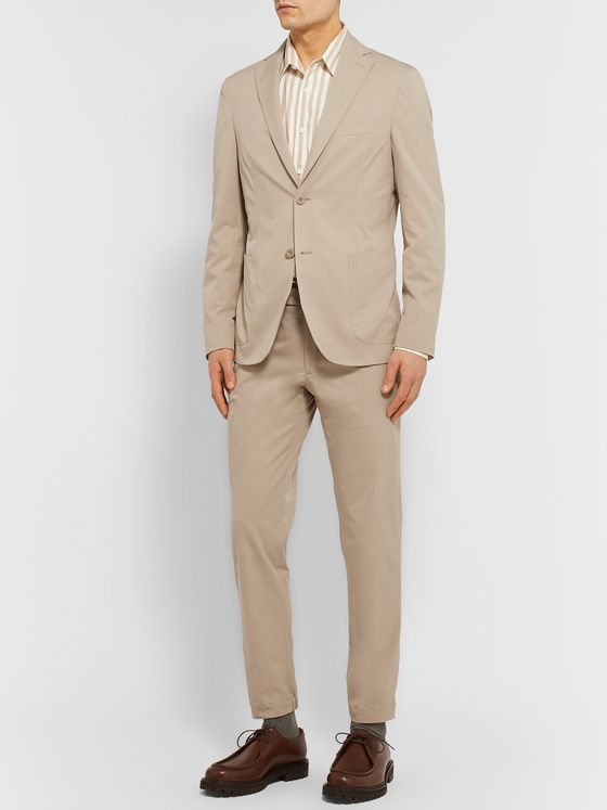Incotex Beige Slim-Fit Unstructured Tech-Twill Suit Jacket