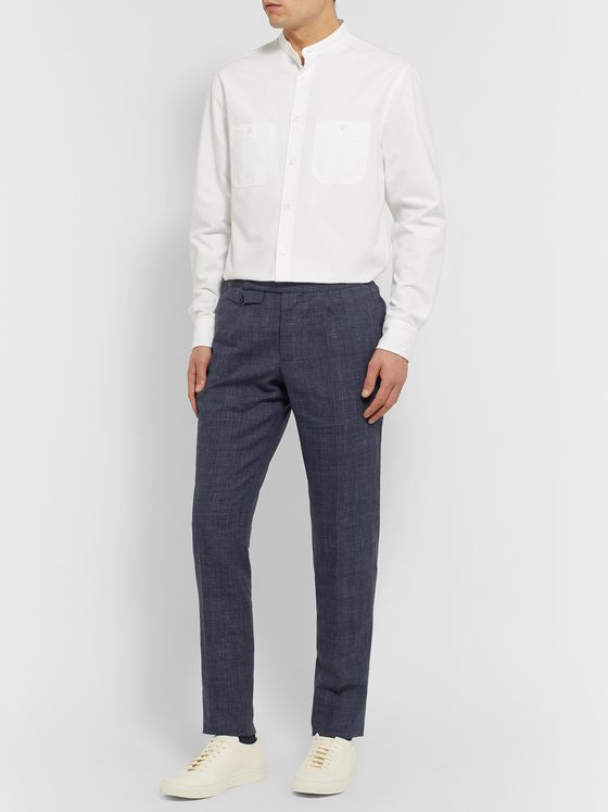 Incotex Slim-Fit Puppytooth Linen and Wool-Blend Trousers