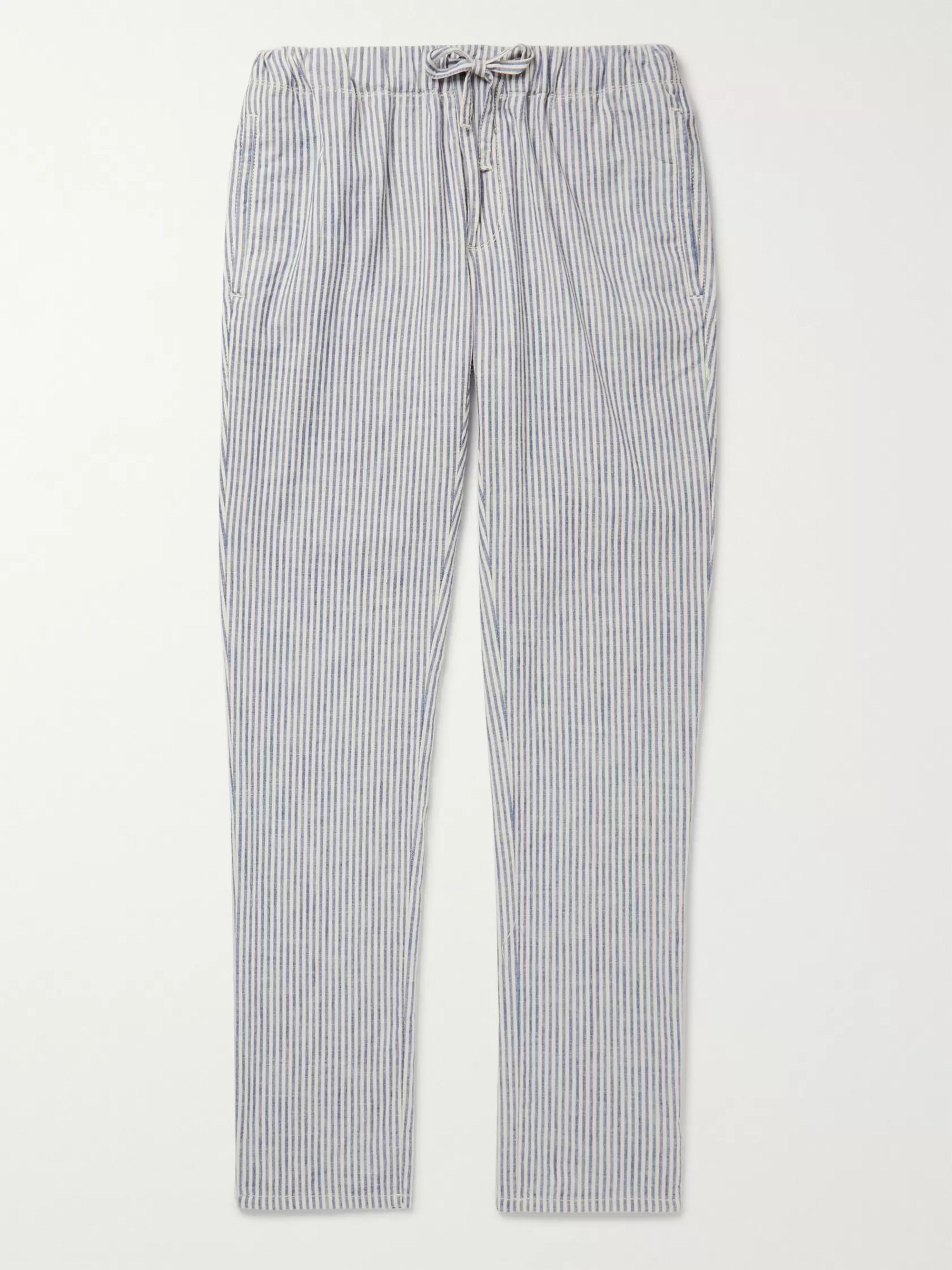 Incotex Slim-Fit Striped Cotton Drawstring Trousers
