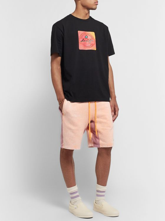 Cav Empt Acid-Washed Striped Loopback Cotton-Jersey Drawstring Shorts