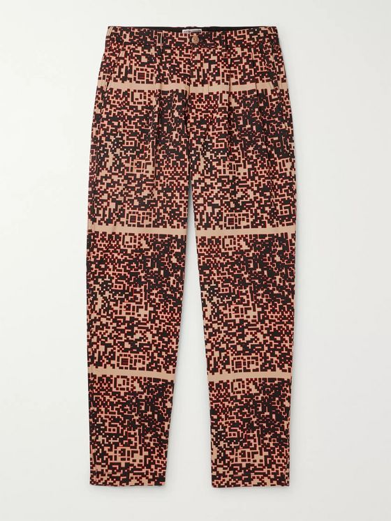 Cav Empt Noise Pleated Printed Cotton Trousers
