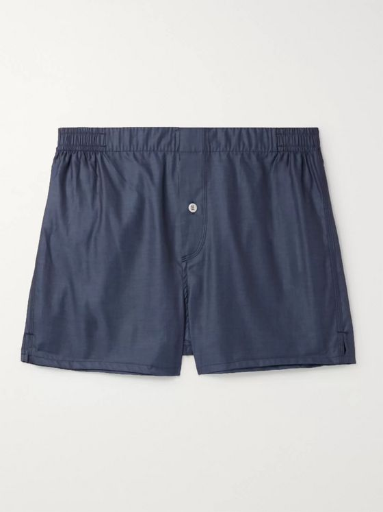 Hamilton and Hare Cotton-Sateen Boxer Shorts