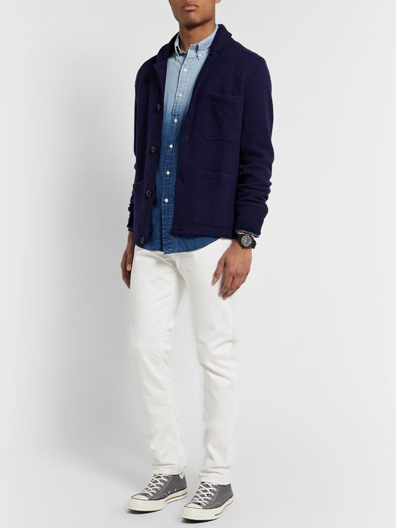 Polo Ralph Lauren Slim-Fit Button-Down Collar Dégradé Cotton and Linen-Blend Shirt