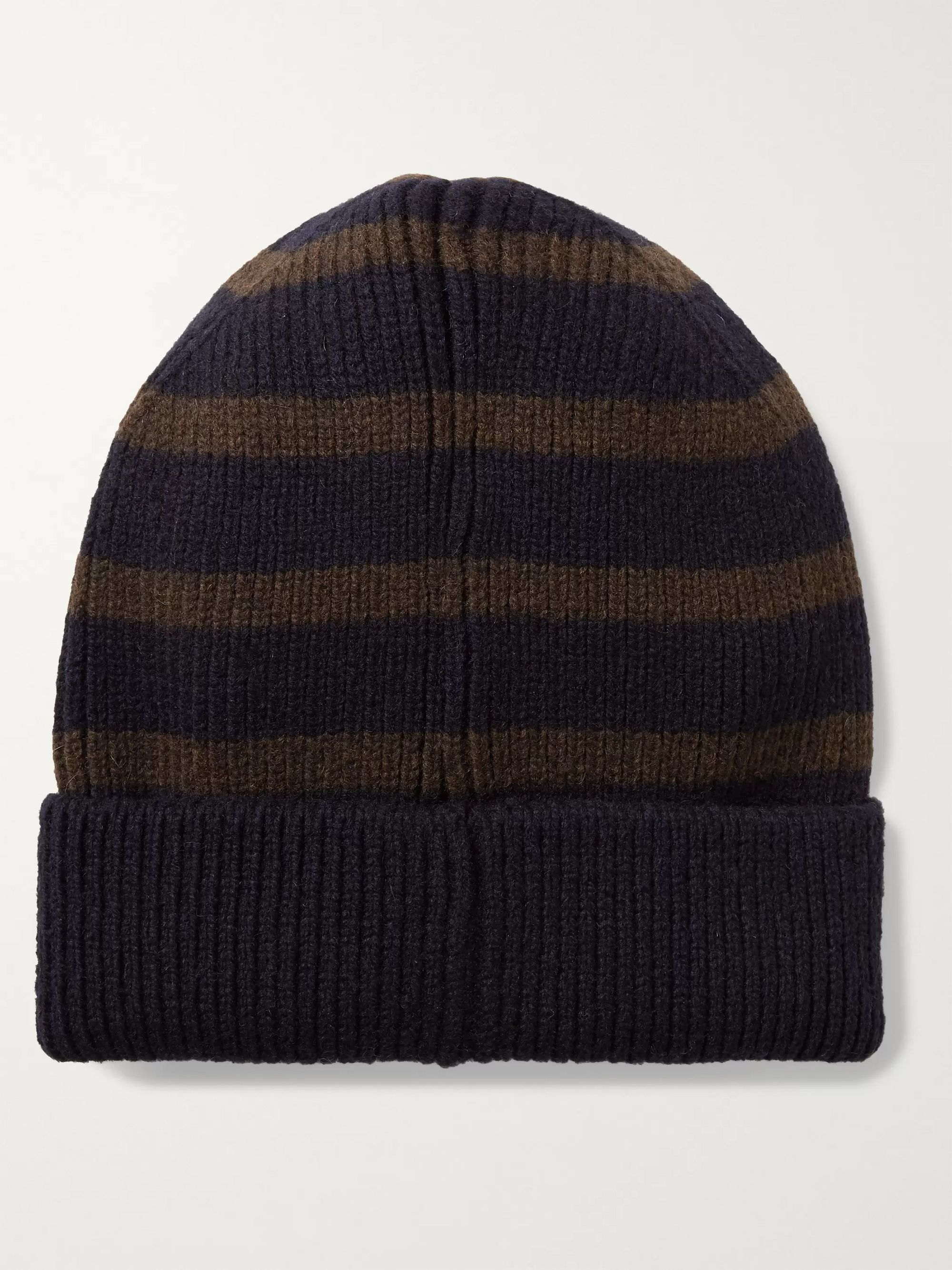 Universal Works Striped Ribbed Wool-Blend Beanie