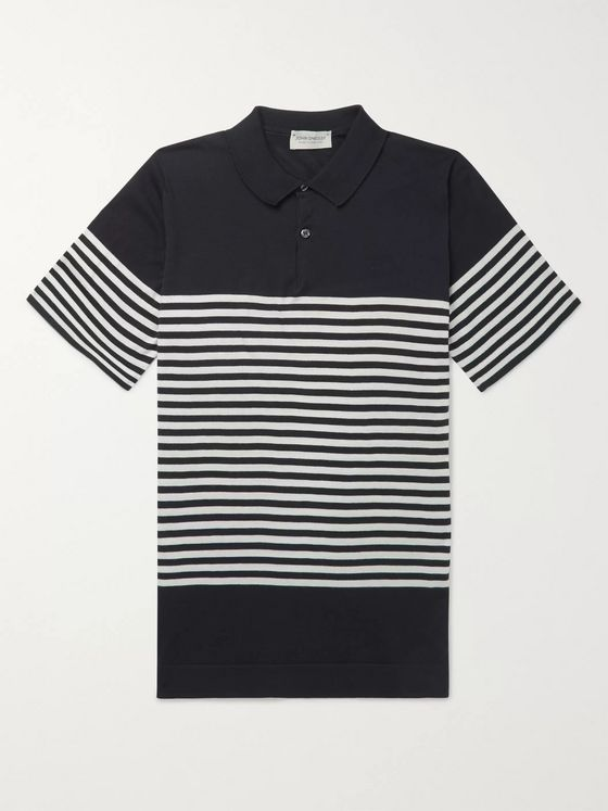 John Smedley Striped Sea Island Cotton Polo Shirt